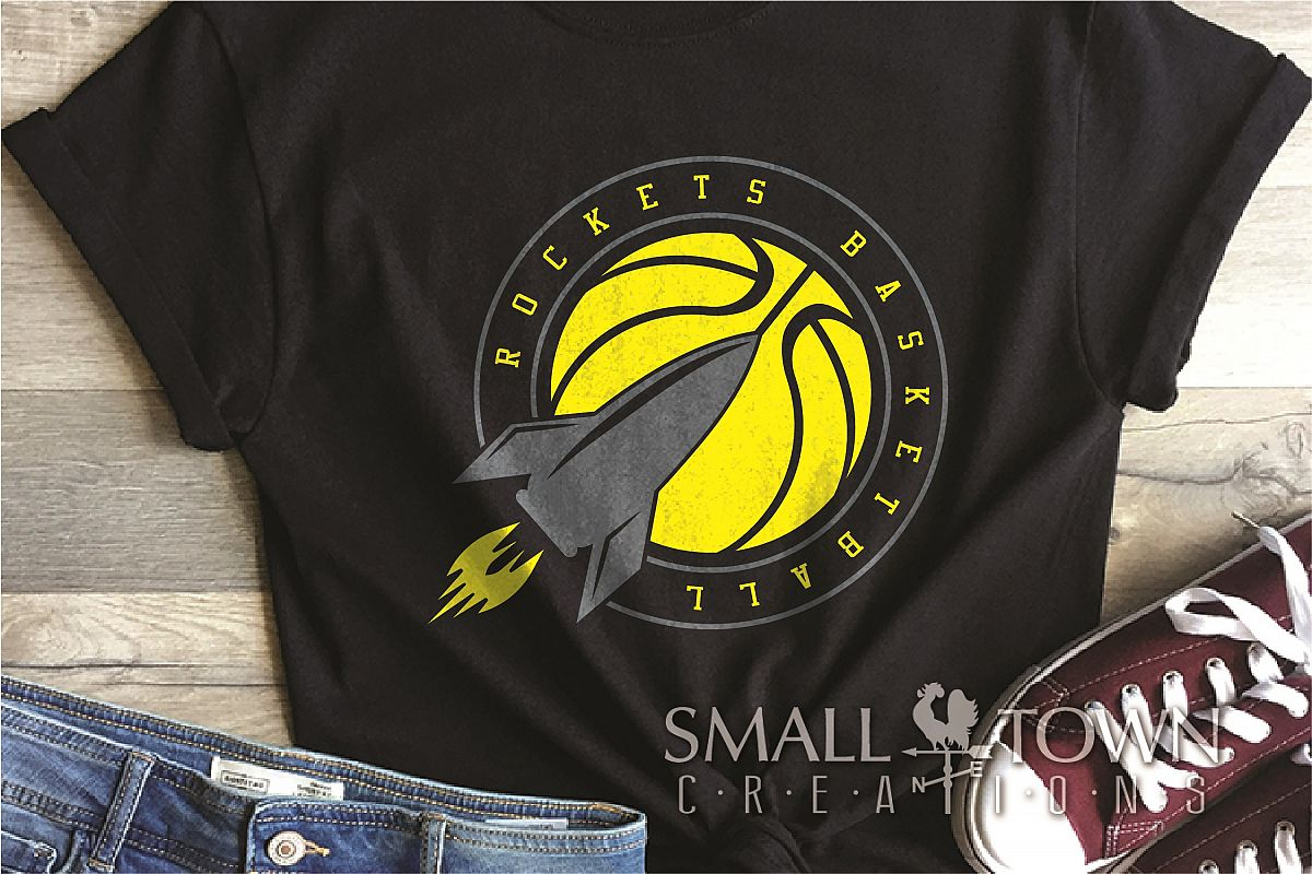 Rocket, Rocket basketball, Team, logo, PRINT, CUT & DESIGN example image 1