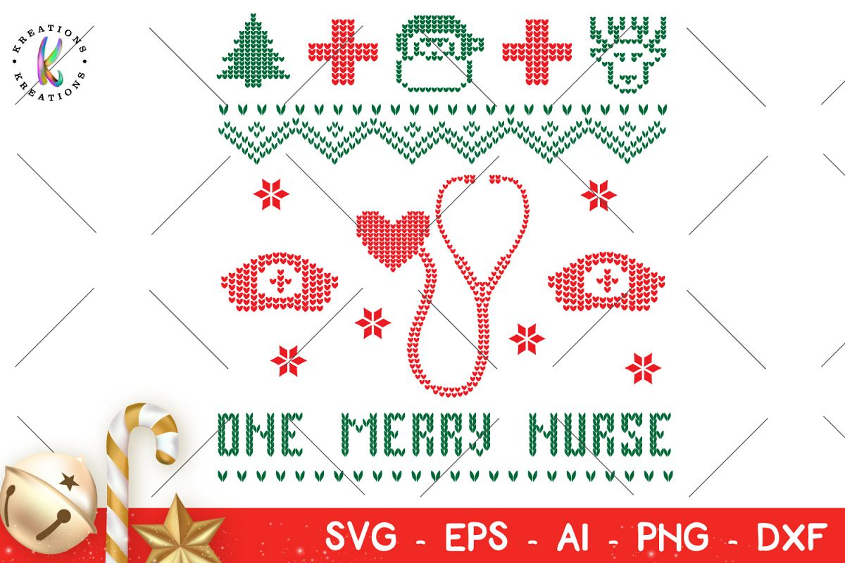 Nurse Christmas Svg.Christmas Svg One Merry Nurse Svg Ugly Sweater Svg