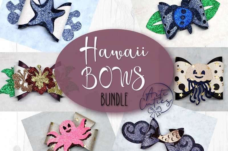 6 Hair bow template SVG, Hawaii sea lather bow template example image 1