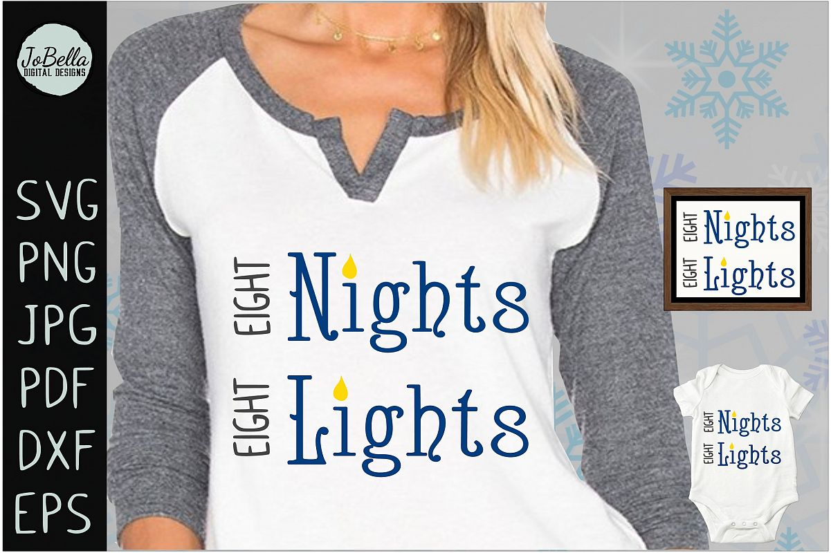 Eight Nights Hanukkah SVG, Printable and Sublimation PNG example image 1