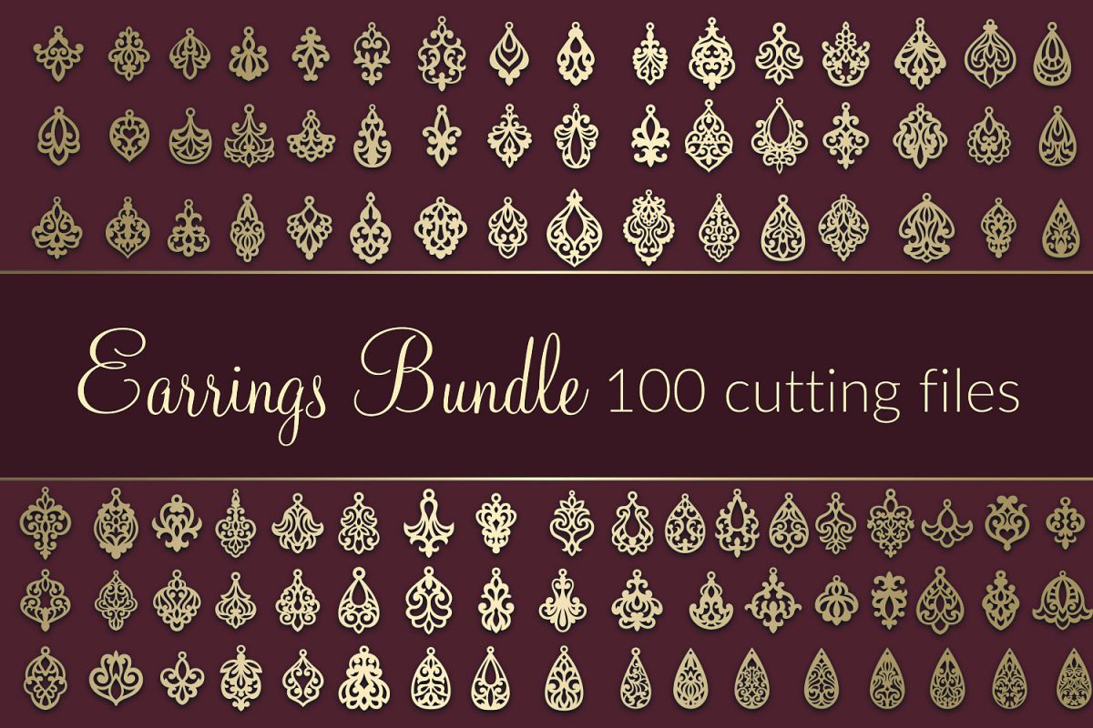 100 SVG Earrings Bundle VOL.2 Dxf Eps Cricut cutting file example image 1