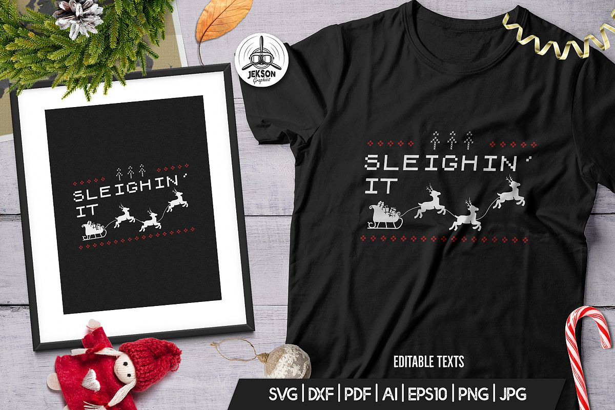 Vintage Christmas Print Template, TShirt Design SVG File example image 1