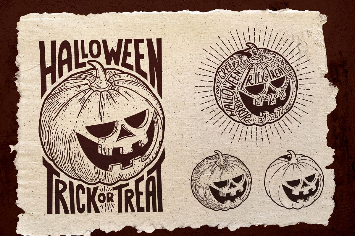 Halloween Pumpkin Engraving Style example image 1
