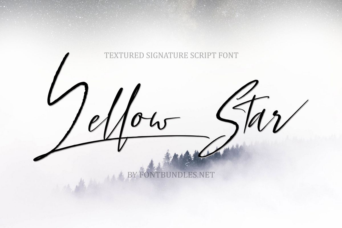Yellow Star. Textured Signature Script Font example image 1