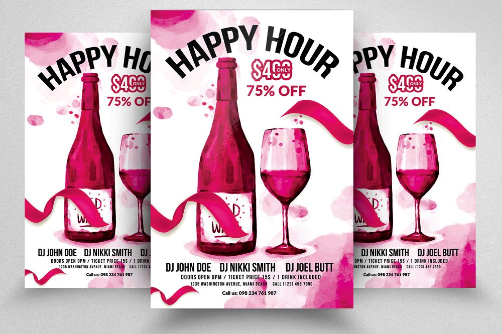 Happy Hour Flyer Template 04 Example Image 1