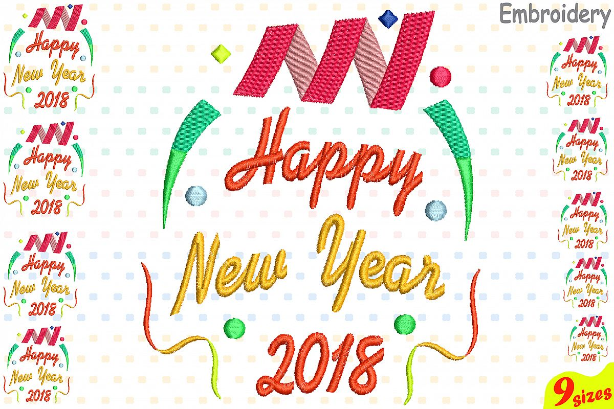 happy new year embroidery design machine instant download commercial use digital file icon symbol sign party