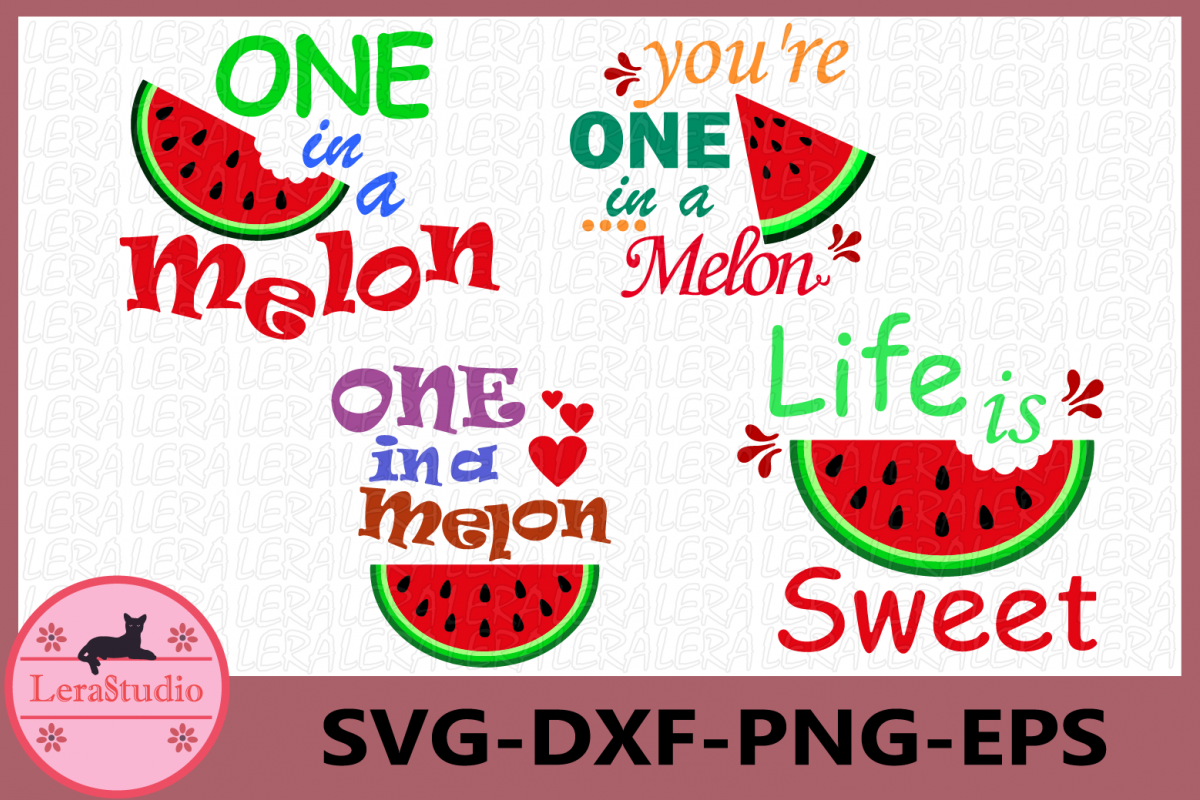 One in a Melon Svg, Life Is Sweet SVG, Summer, Watermelons example image 1