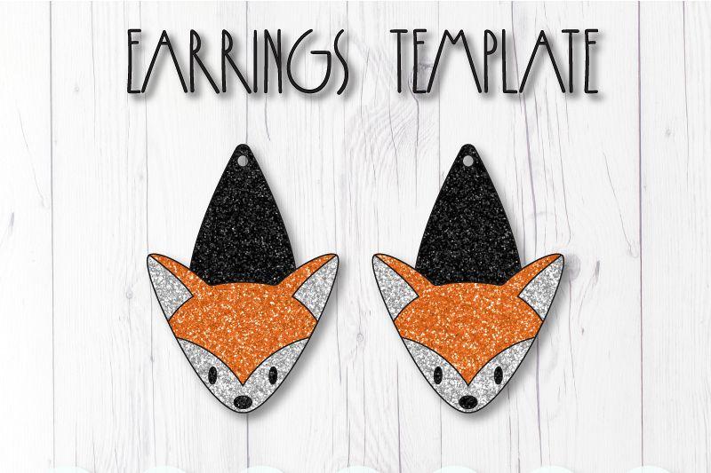 Fox earrings template SVG, DIY earrings template example image 1