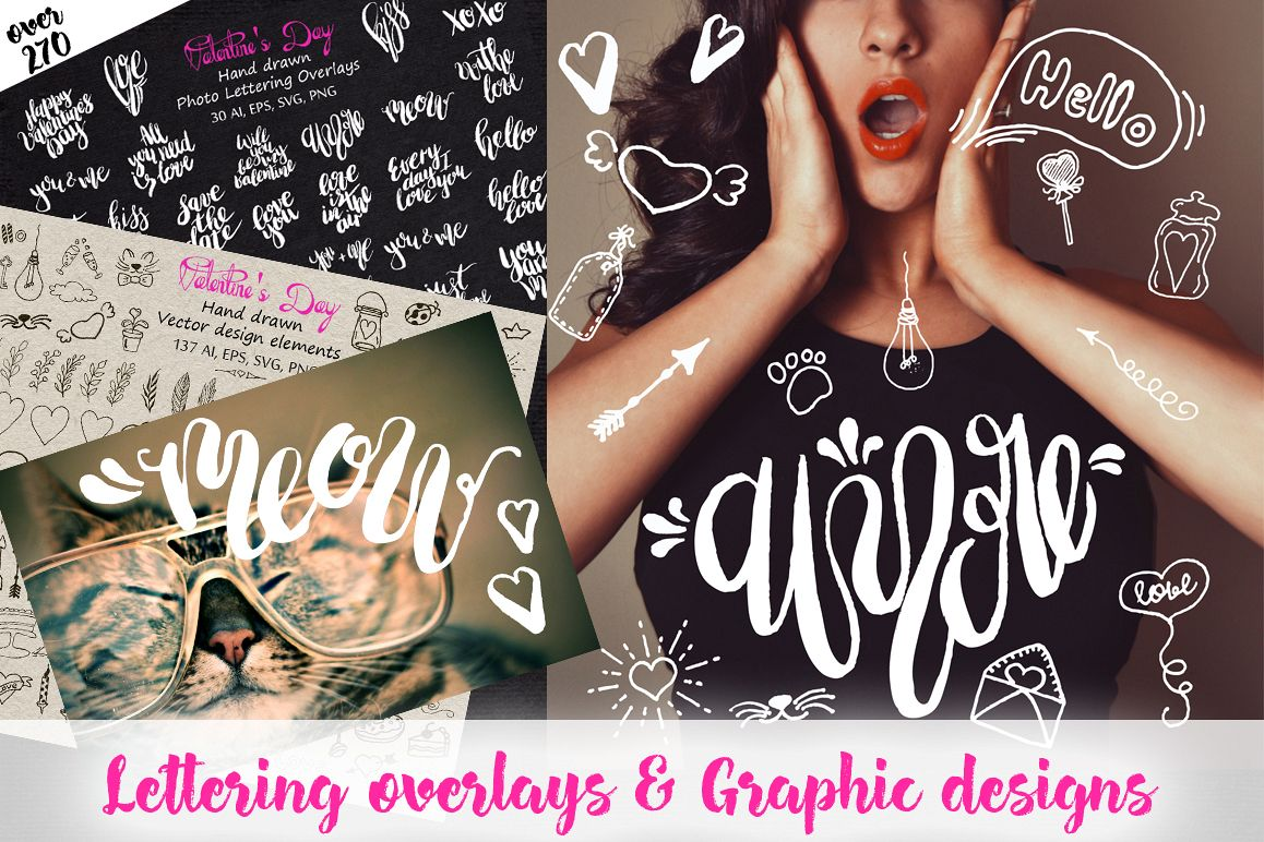 Love Lettering & Graphic overlays  example image 1