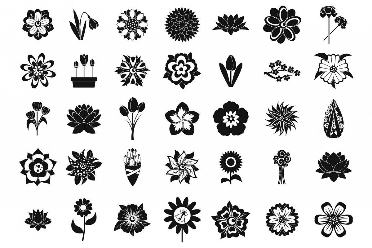 Flower icon set, simple style example image 1