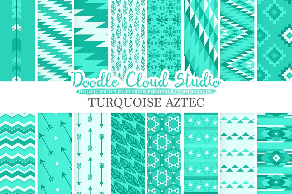 Aqua Aztec digital paper Tribal patterns native  triangles geometric ethnic arrows background Instant Download for Personal & Commercial Use example image 1