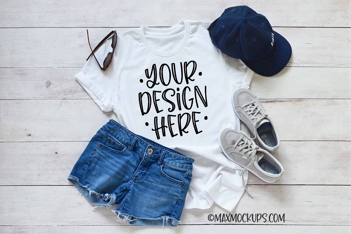 22a696841 White t-shirt Mockup Bella Canvas