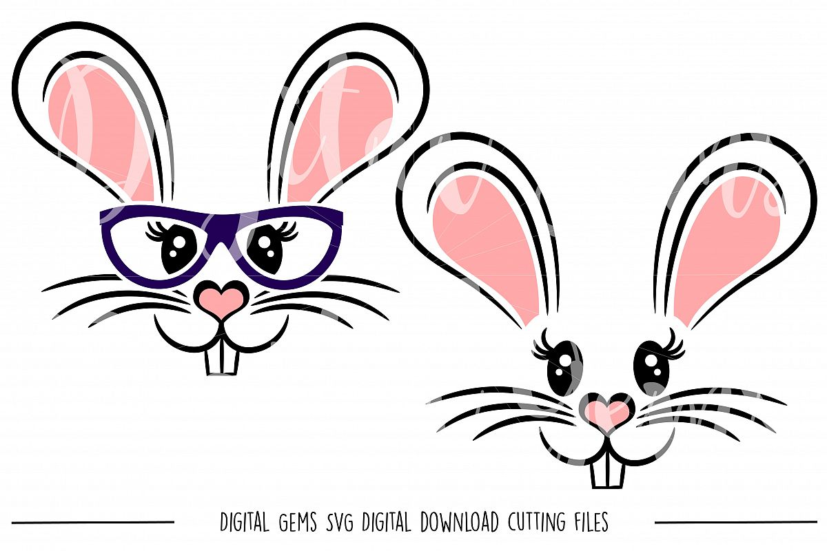 Rabbit Faces SVG / DXF / EPS / PNG files example image 1