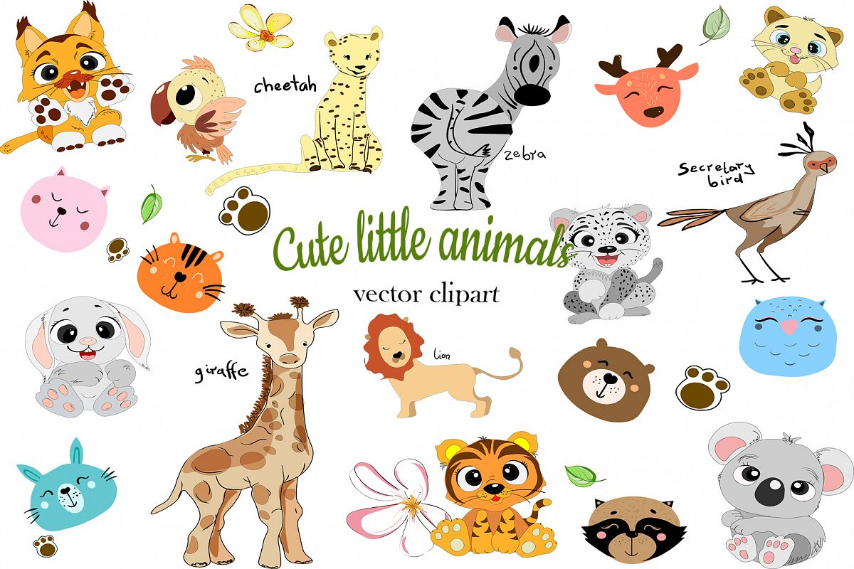 Set of cute funny little animals clipart example image 1