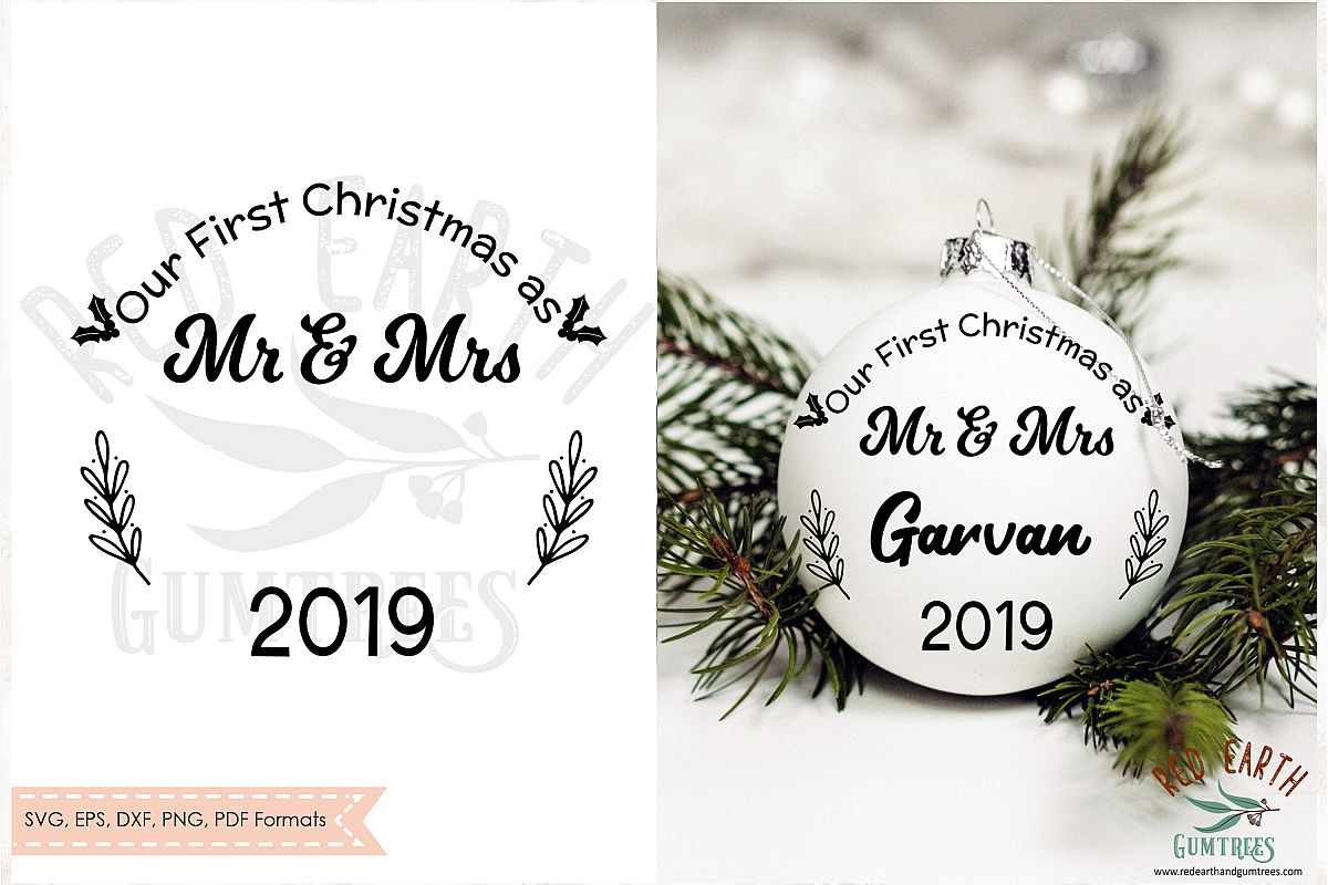 Our First Christmas as mr and Mrs, Newlyweds SVG,DXF,PNG,EPS example image 1