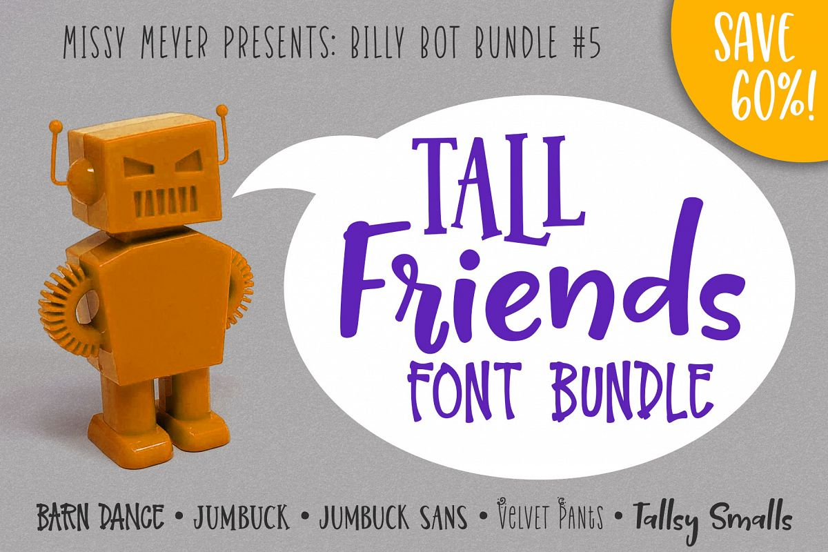 Billy Bot Bundle 5 - Tall Friends Font Bundle! example image 1