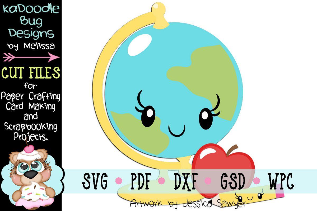 Kawaii Earth Globe Cut File - SVG PDF DXF GSD WPC example image 1