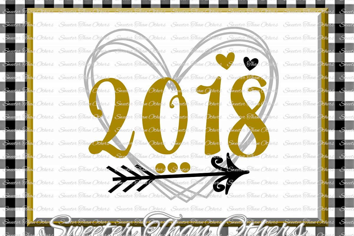 2018 Heart svg, New Year 2018 SVG example image 1