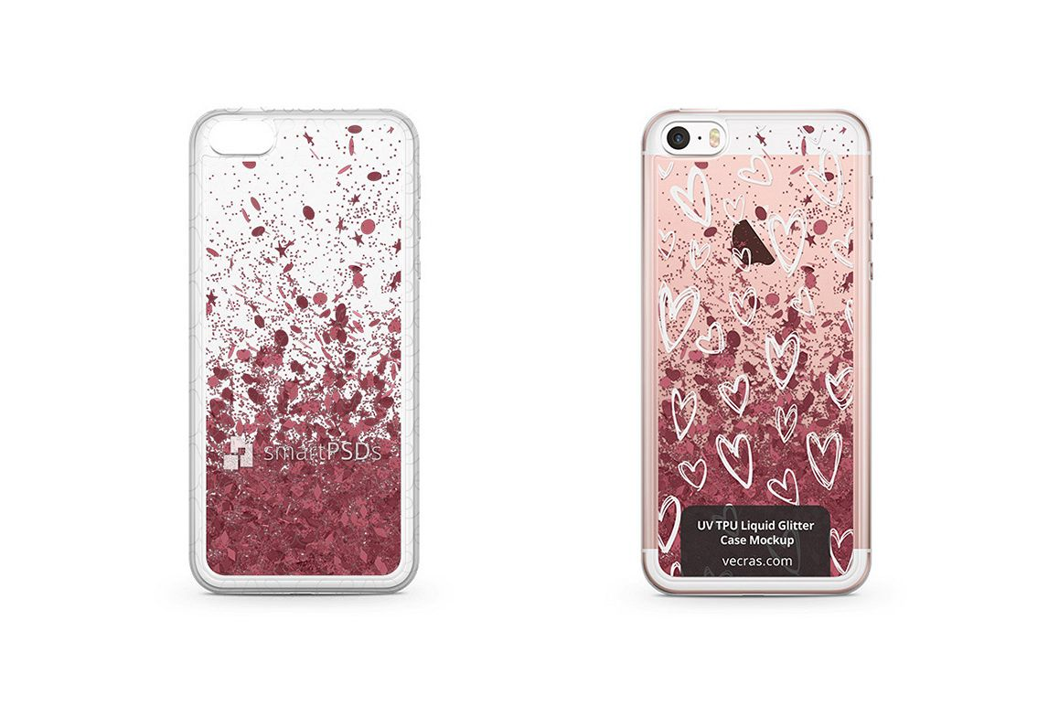 Apple iPhone 5-5S-SE UV TPU Liquid Glitter Case Mock-up example image 1