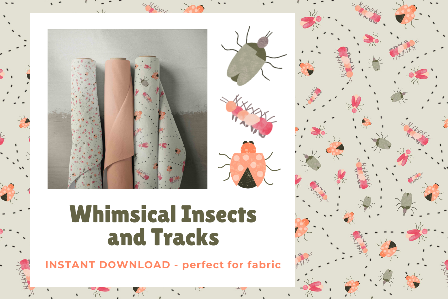 Whimsical Insects and Tracks Fabric DIGITAL example image 1