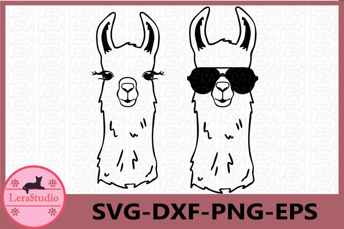 Llama SVG, Llama Face Svg, Llama in glasses svg, lama example image 1