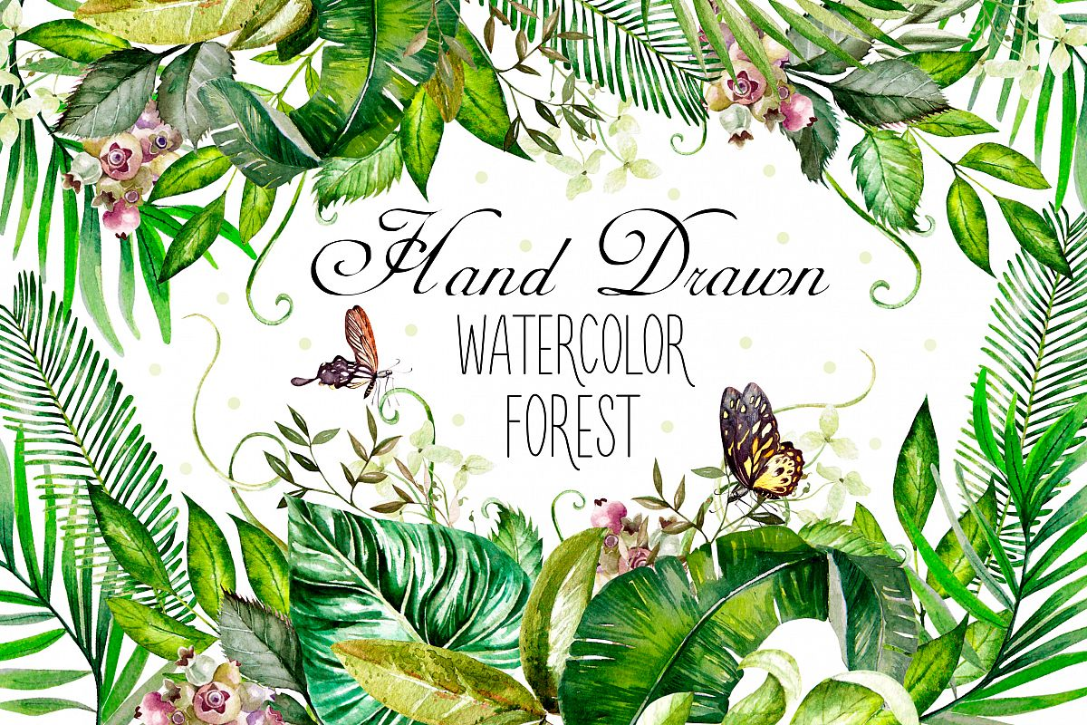 Hand Drawn watercolor Forest example image 1