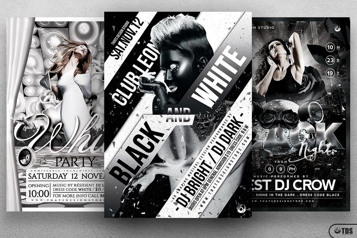 Black and White Party Flyer Bundle example image 1