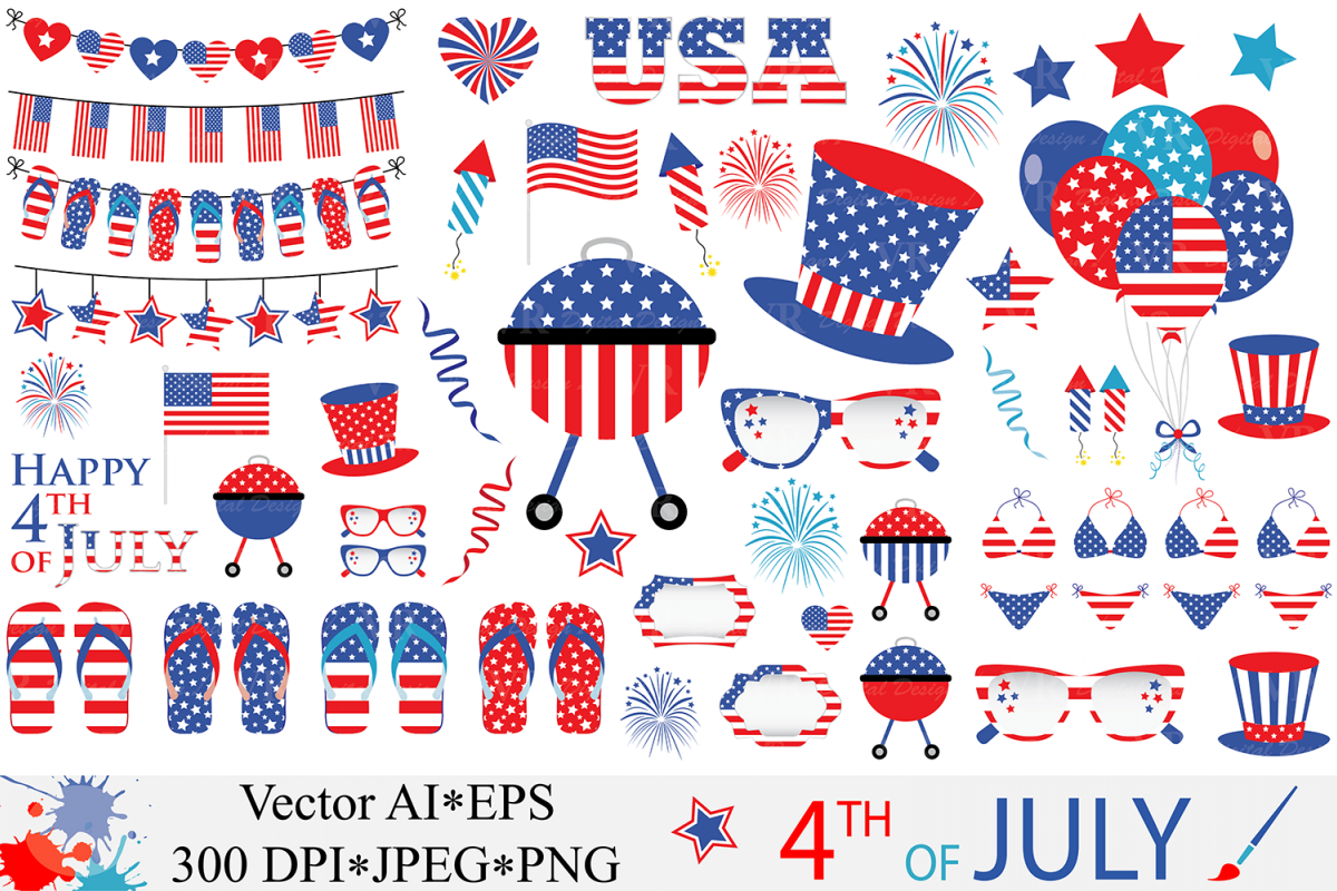 4th of July Clipart / USA Patriotic Vector Graphics / Independence Day Illustrations example image 1