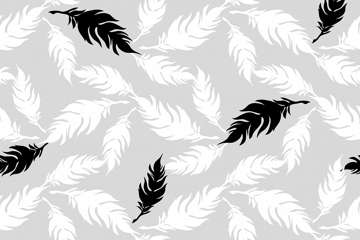 Seamless vector background with decorative feathers. Cloth design, wallpaper. Textile rapport.  example image 1
