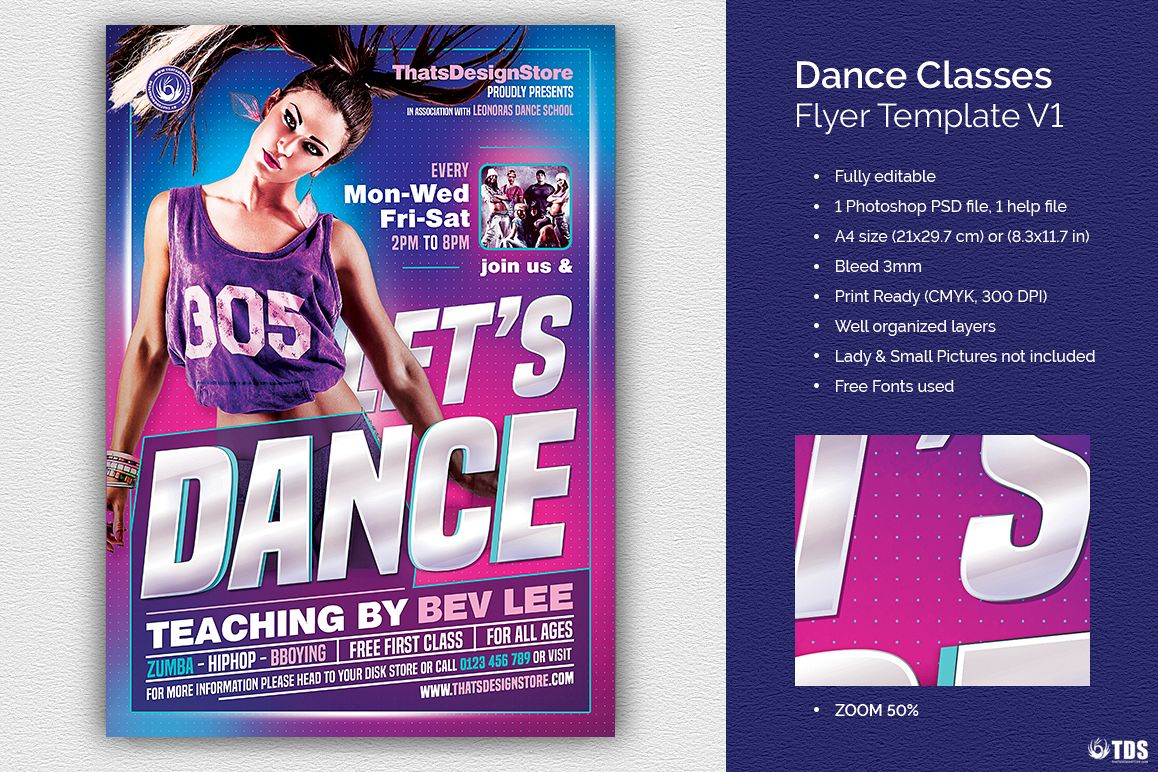 Dance Classes Flyer Template V1 example image 1