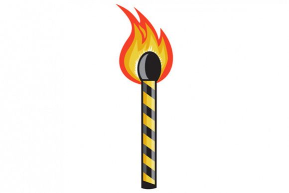 Light Striped Match Stick On Fire Retro example image 1