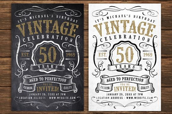 Chalk Vintage Birthday Flyer example image 1