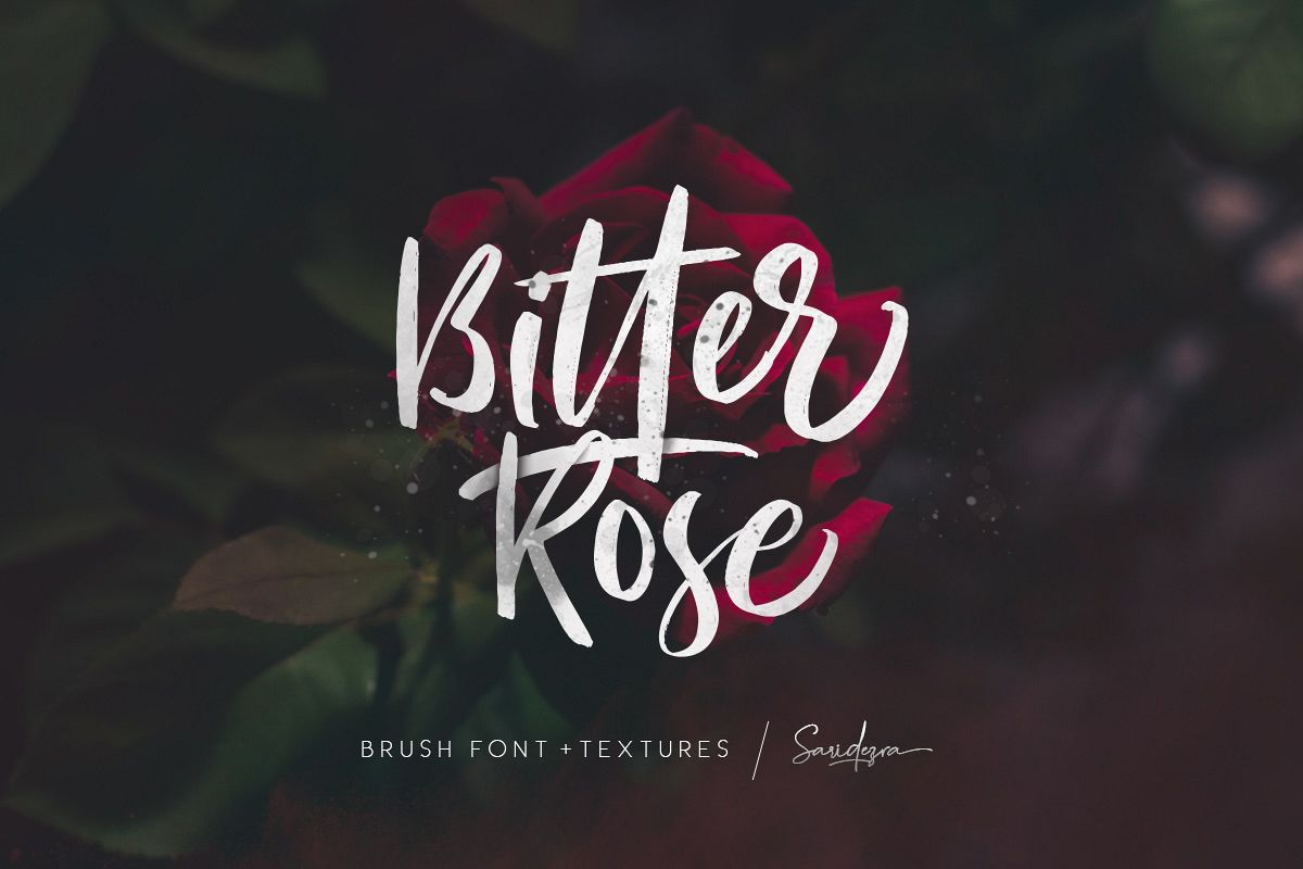 Bitter Rose - Brush Font (+TEXTURES) example image 1