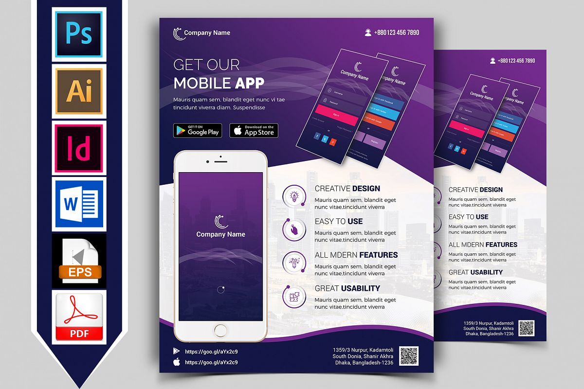 Mobile App Promotional Flyer Vol-01 example image 1
