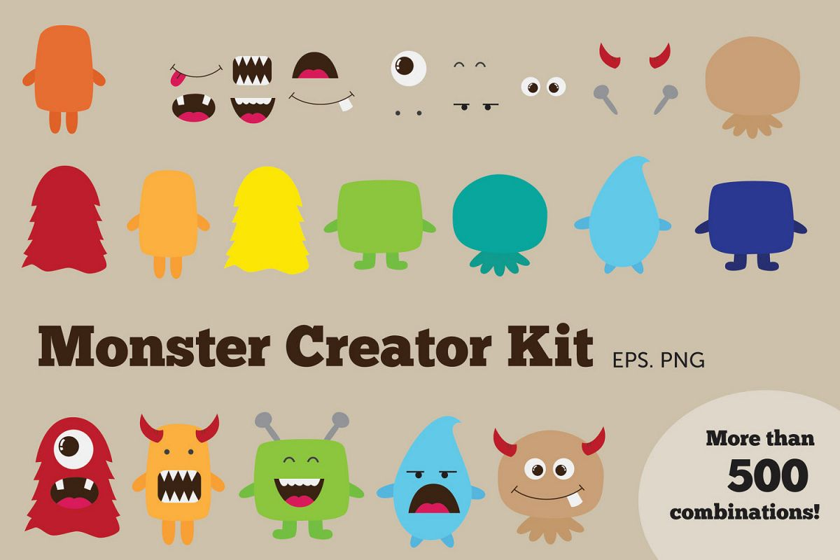 Monster Creator Kit Clipart example image 1