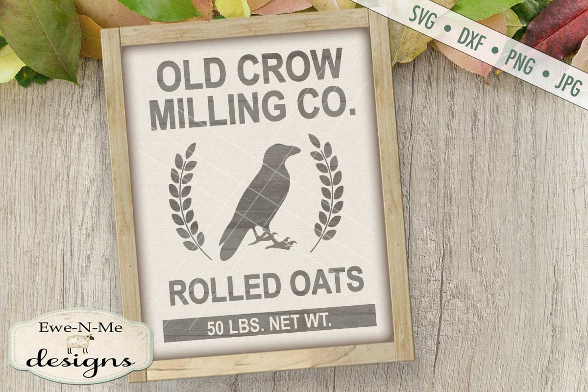Old Crow Milling Co Rolled Oats SVG DXF Files example image 1