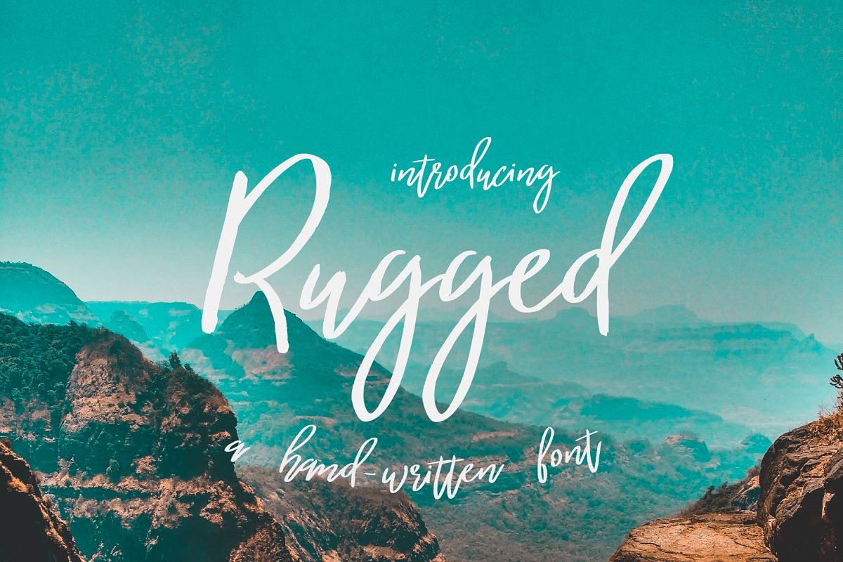 Rugged   a hand-written font example image 1
