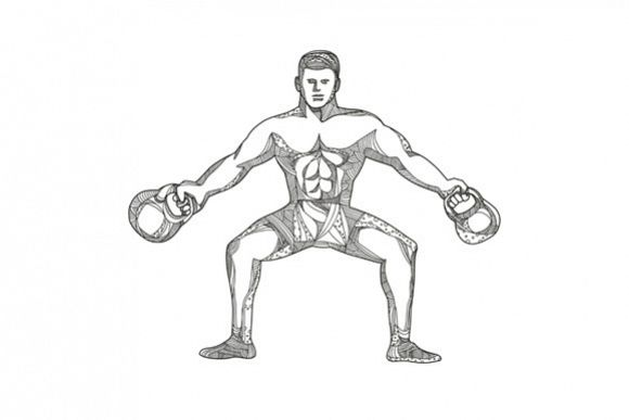 Fitness Athlete Lifting Kettlebell Doodle Art example image 1