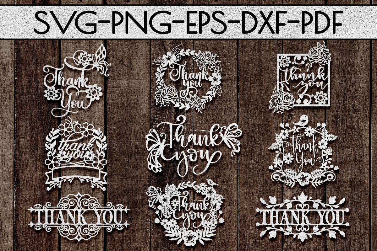 Thank You Papercut Templates Bundle, Laser Vector SVG, PDF example image 1