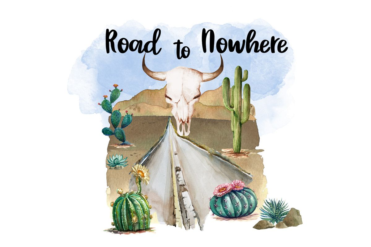 Road to Nowhere, Desert Watercolor Clipart, Sublimation File example image 1