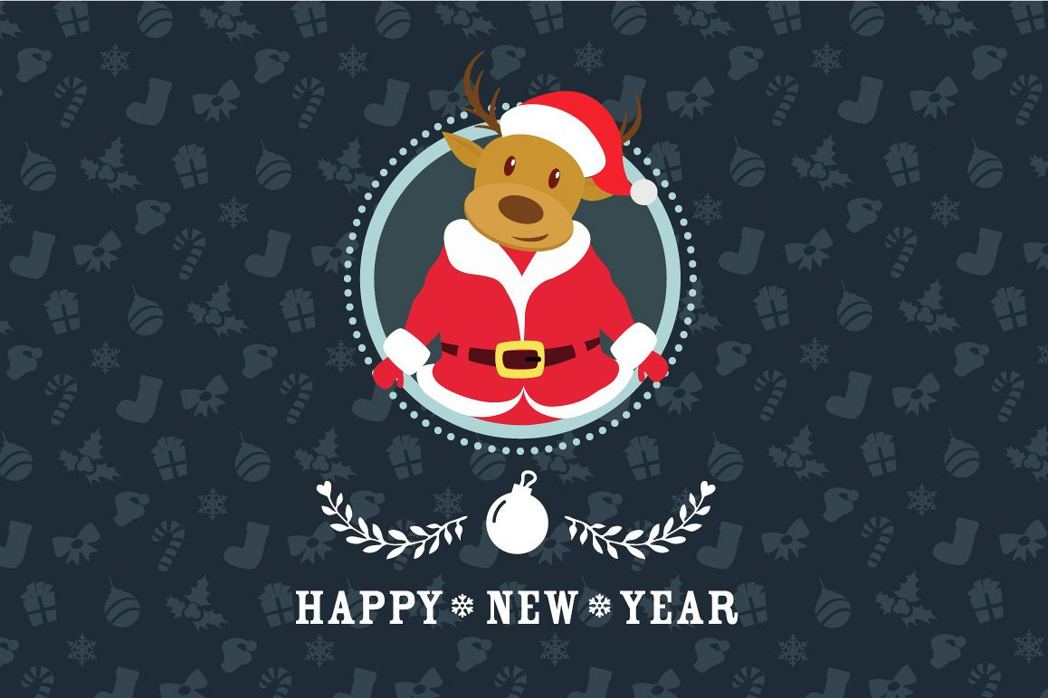 Santa Deer Christmas Card example image 1