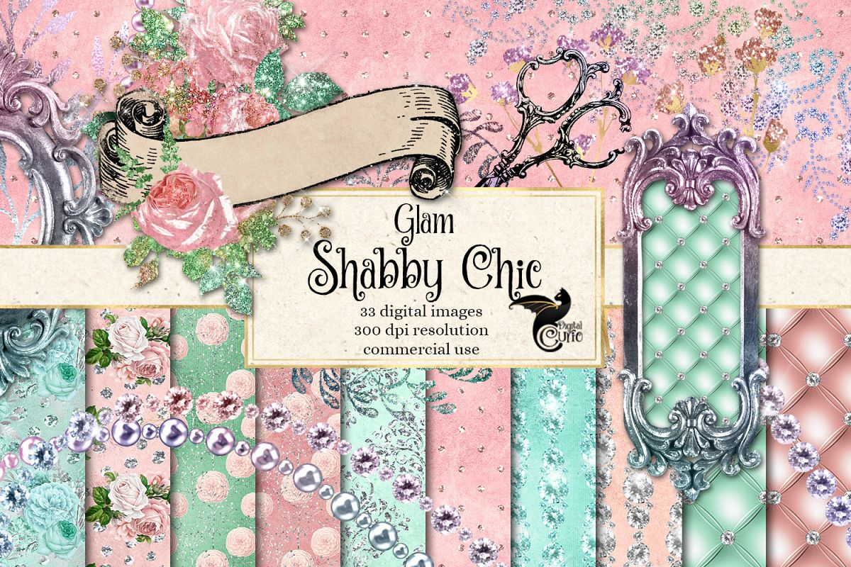 Glam Shabby Chic Digital Scrapbooking Kit example image 1