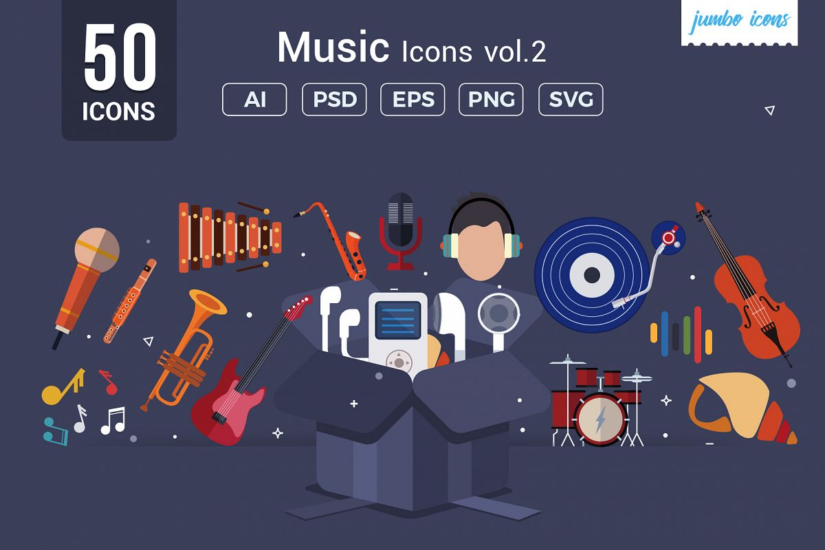 Flat Vector Icons Music Pack V2 example image 1
