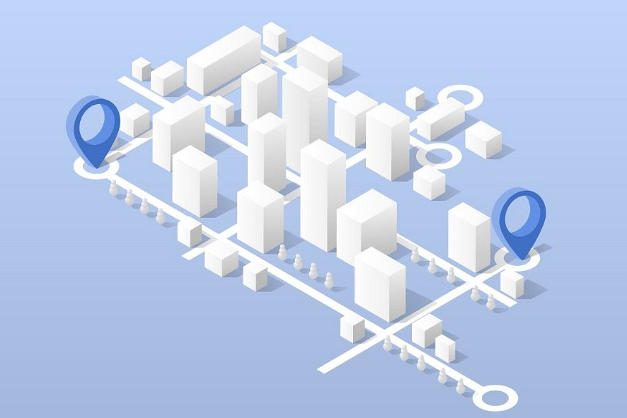 City isometric map, consisting of city skyscrapers example image 1
