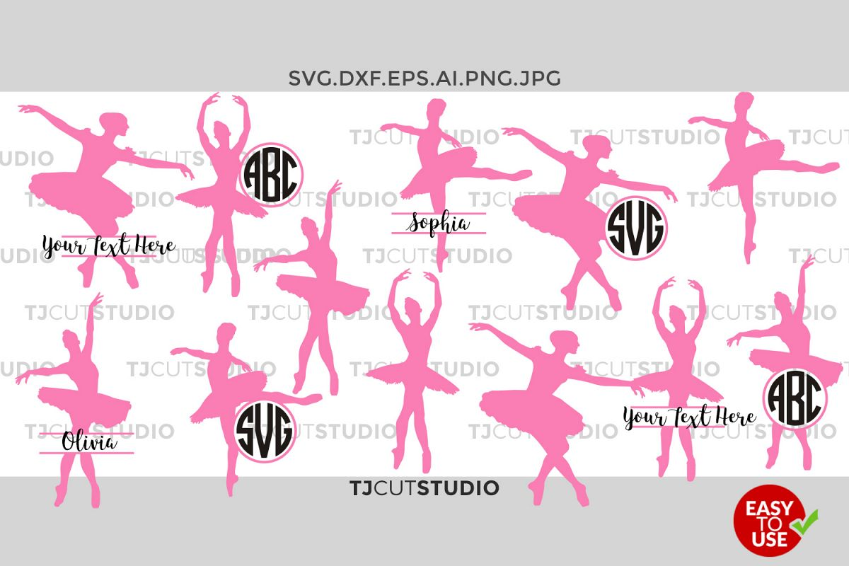 Ballet Svg, Ballet Monogram, Ballet Svg Files, Ballerina SVG Files, for Silhouette Cameo or Cricut Commercial & Personal Use. example image 1