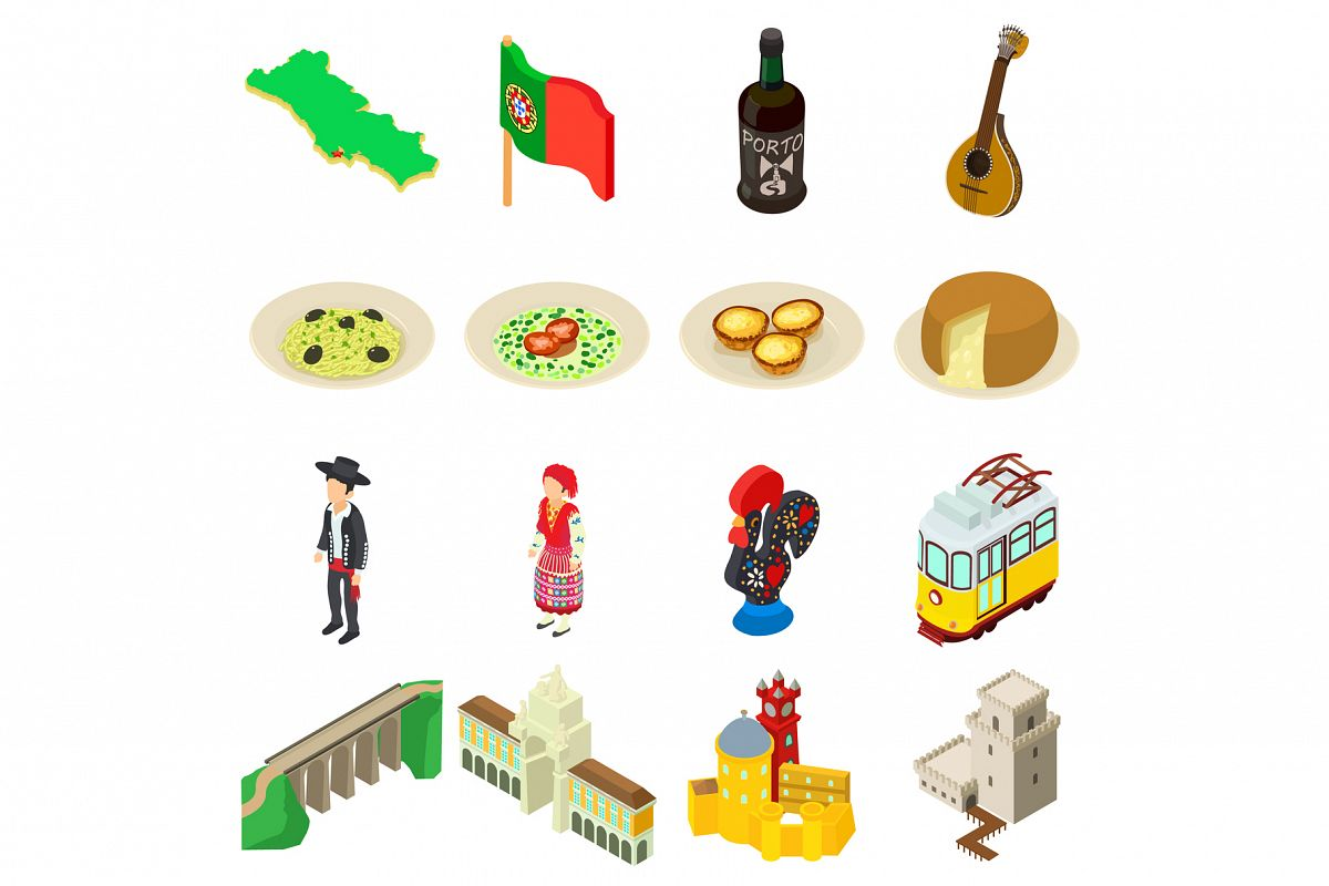 Portugal travel icons set, isometric style example image 1