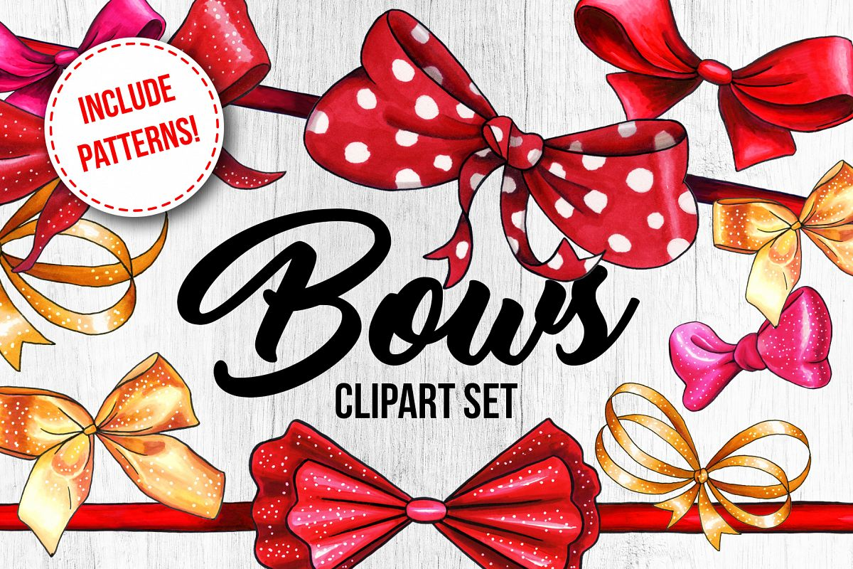 Bows and Ribbons Marker Clipart Collection example image 1