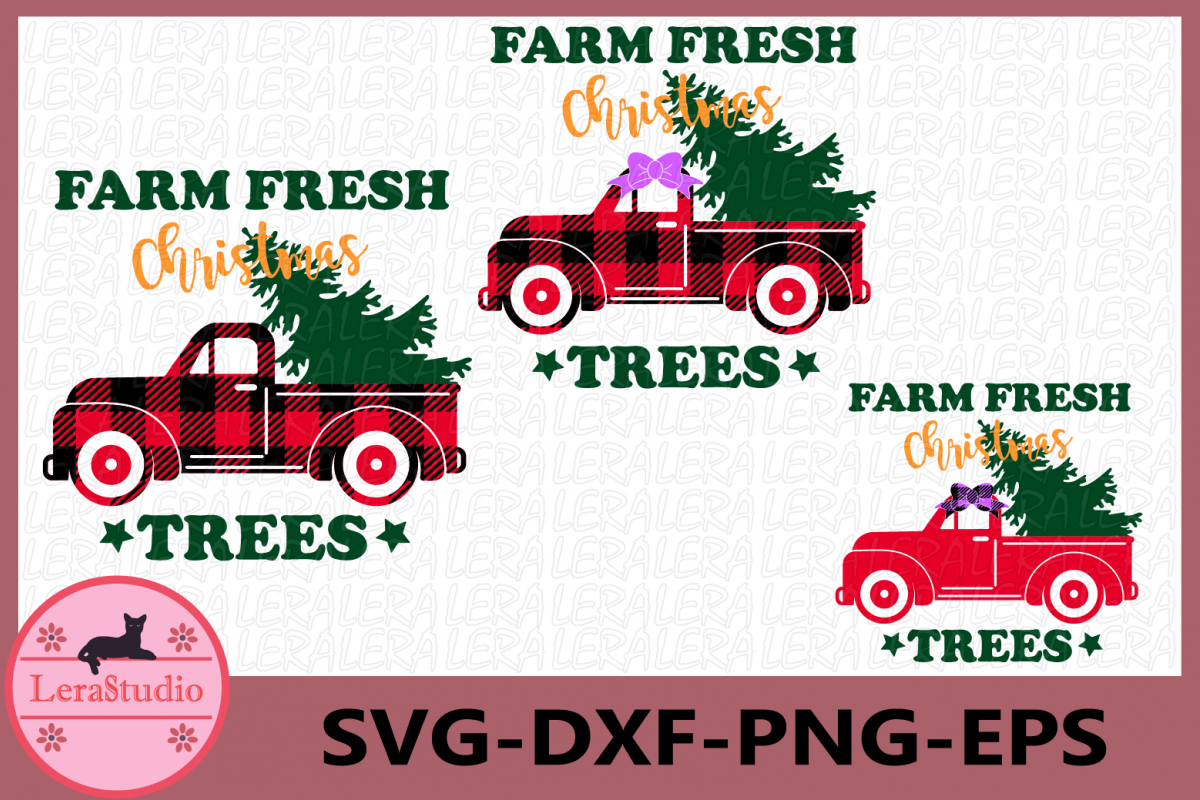 Farm Fresh Christmas Trees SVG, Christmas, Buffalo Plaid Svg example image 1