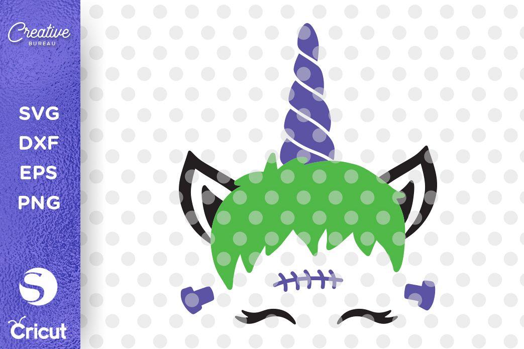 Halloween Unicorn Face SVG DXF Cut File, Unicorn Face SVG example image 1