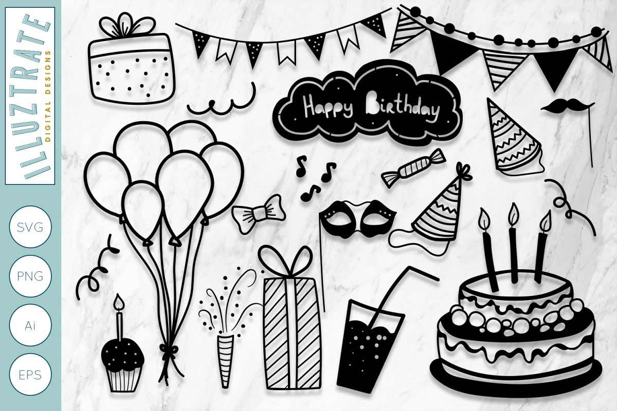 Birthday SVG Cut Files | Birthday Party Clipart | Party SVG example image 1